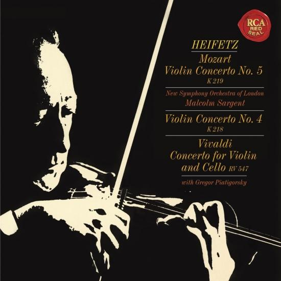 Cover Mozart: Violin Concertos No. 4 in D Major, K. 218 & No. 5 in A Major, K. 219 'Turkish' - Vivaldi: Concerto for Violin and Cello in B-Flat Major, RV 547 - (Heifetz Remastered)